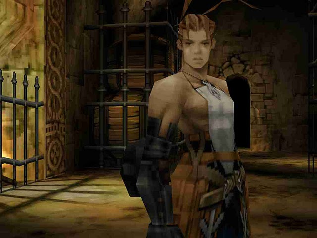Vagrant Story screenshot of Ashley in a dim stone room with wrought iron fencing, wooden barrels, and firelight behind him.