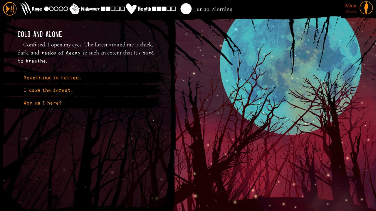 A choice screen with Maia reacting to being in the forest, with a large, round full moon in the background and reaction options.