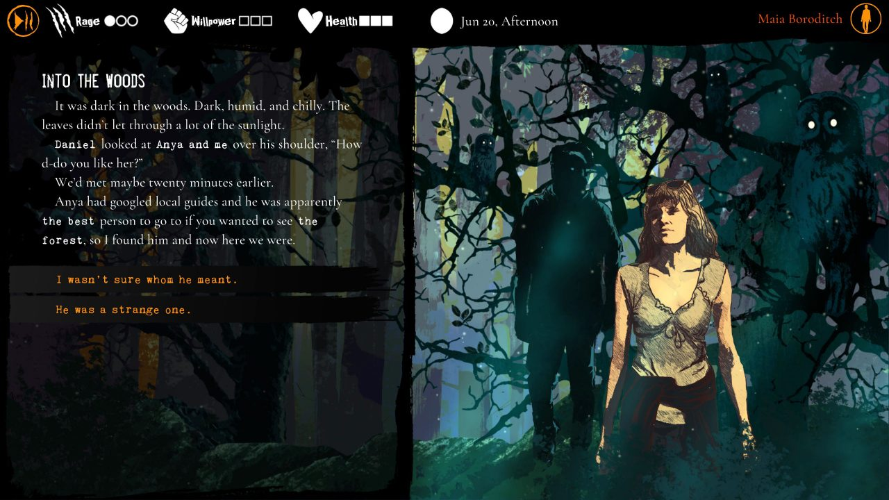 The protagonist stands in front of a gnarled tree and text appears on the left side of the screen in Werewolf: The Apocalyse - Heart of the Forest.