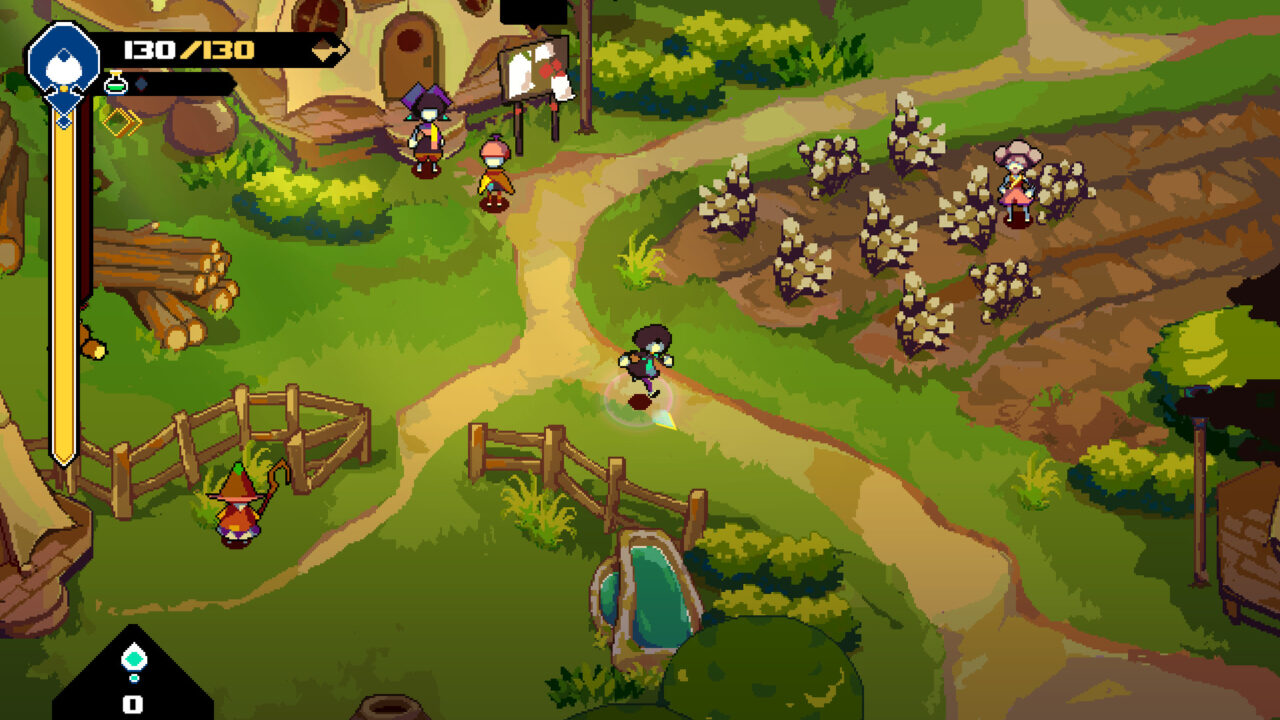 The Bellwielder is running through their settlement on a path, with wheat to their left and a gate open to a field on their right.