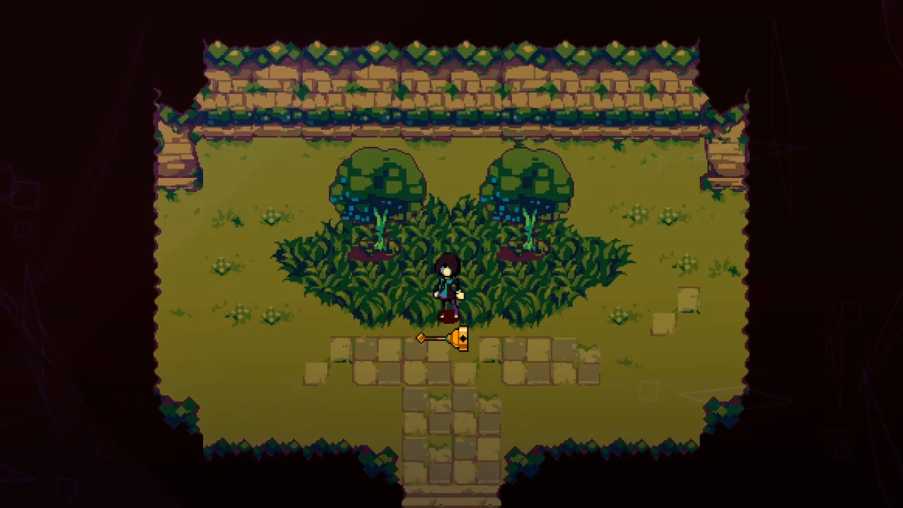 The Bellwielder is standing in a thicket of two trees, a ledge of leaves overhanging in front of them.