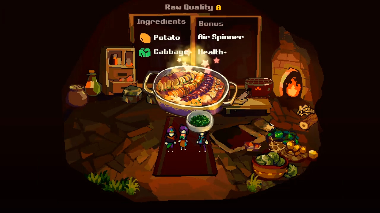 A cooking minigame where the Bellwielder is mixing both potatoes and cabbages to give them temporary combat buffs.