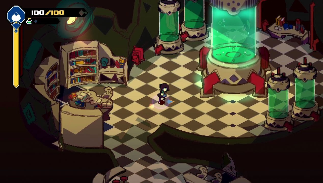 The Bellwielder walks across a checkered floor, a vat of green liquid before them.