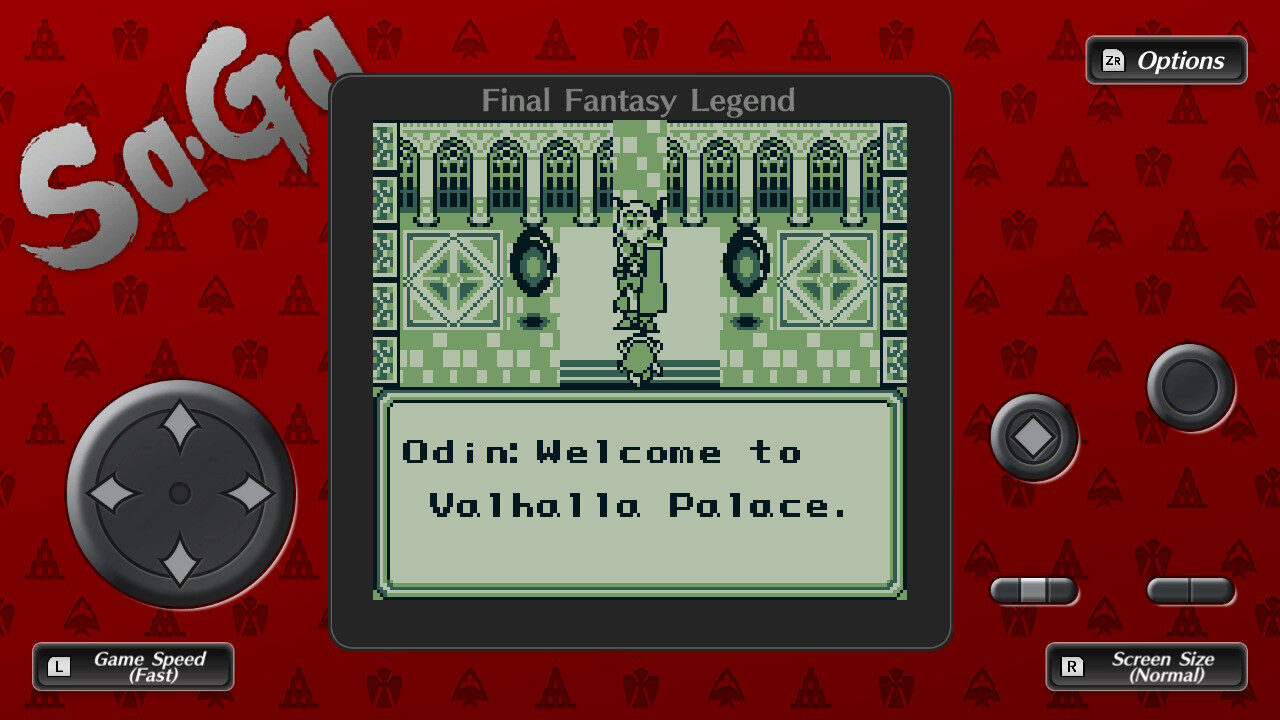 Screenshot from Final Fantasy Legend with Odin welcoming the party to Valhalla Palace.