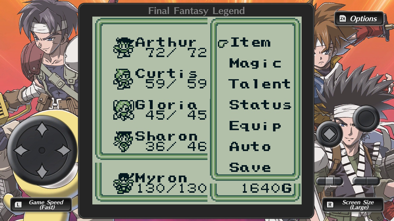 A traditional, monochrome, JRPG menu as seen in Collection of SaGa Final Fantasy Legend.