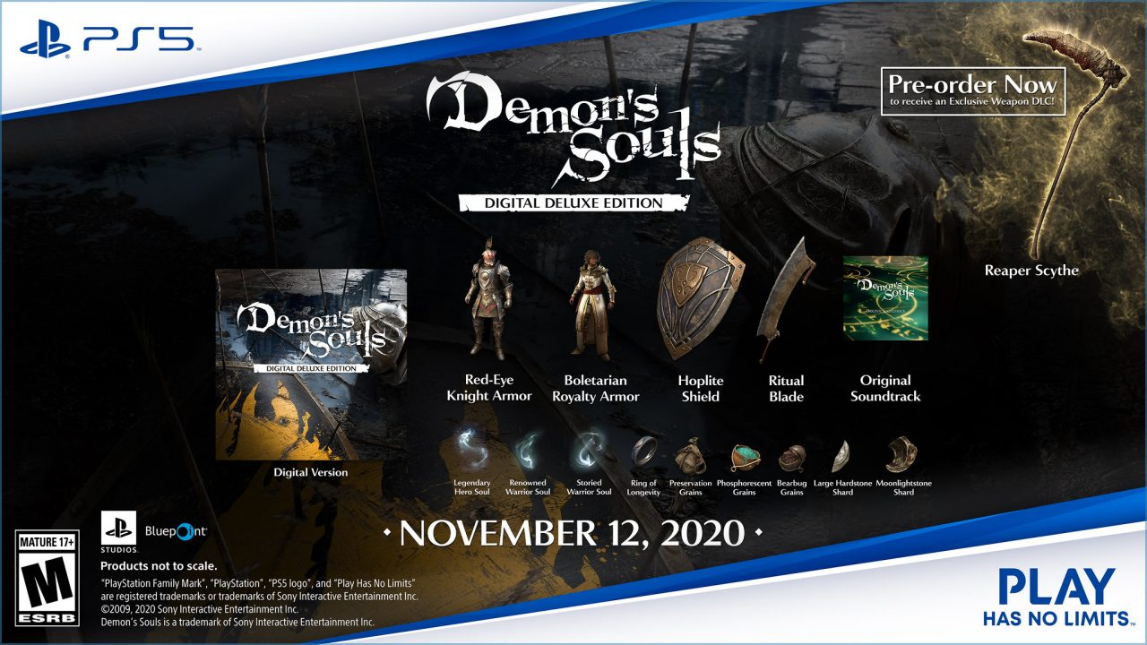The bonus items involved in the Digital Deluxe Edition for Demon's Souls Remake.