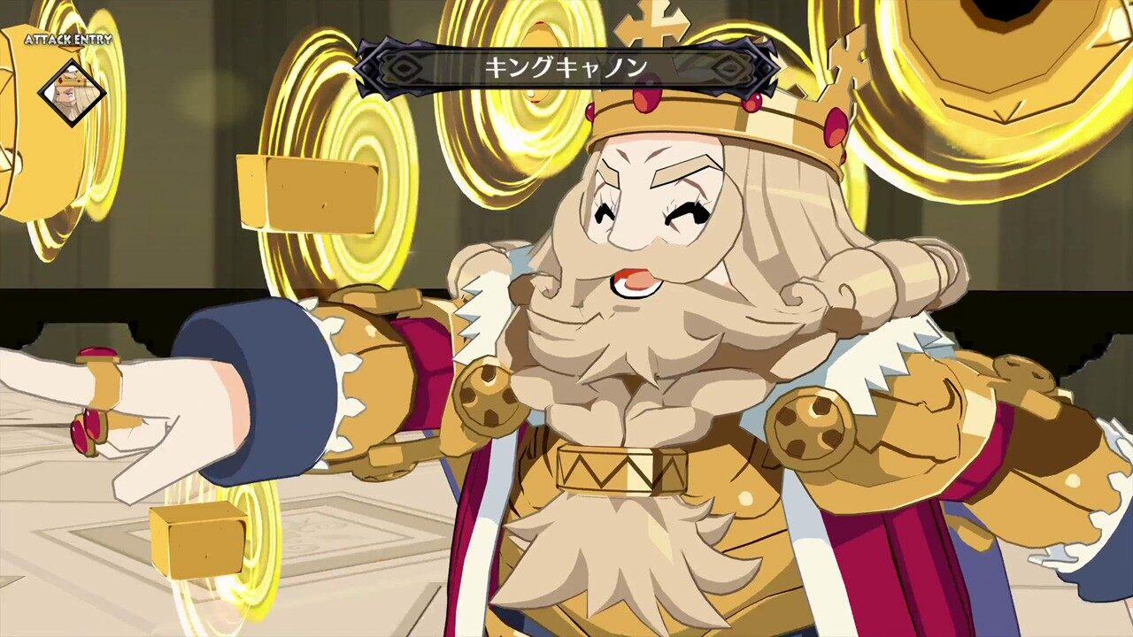 A royal-looking character literally throwing money (or directing it by pointing out of frame) in Disgaea 6.