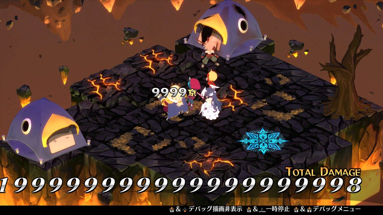 Disgaea 6: Defiance of Destiny screenshot of an isometric battle with insanely-high damage numbers appearing on screen.