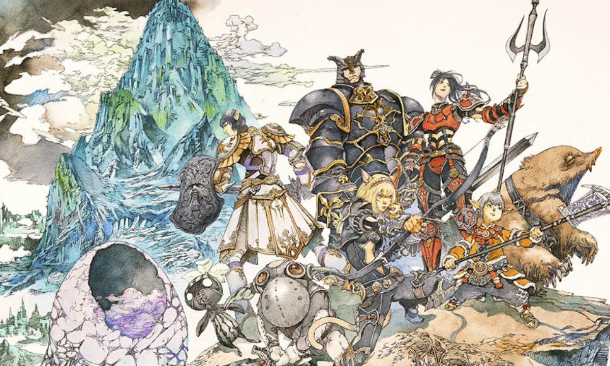 Heroes assembled in a Final Fantasy XI concept art sketch.