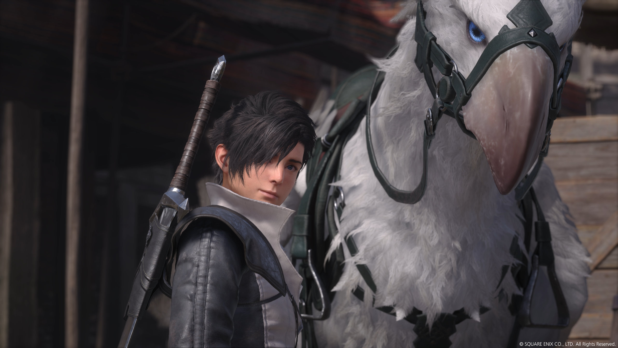 Young Joshua with his white chocobo in Final Fantasy XVI