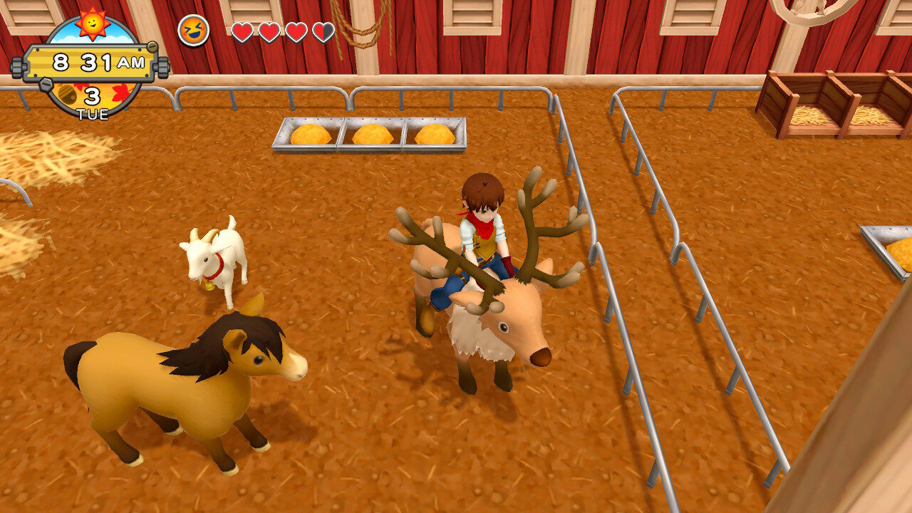 Riding a reindeer at sunset in Harvest Moon: One World.