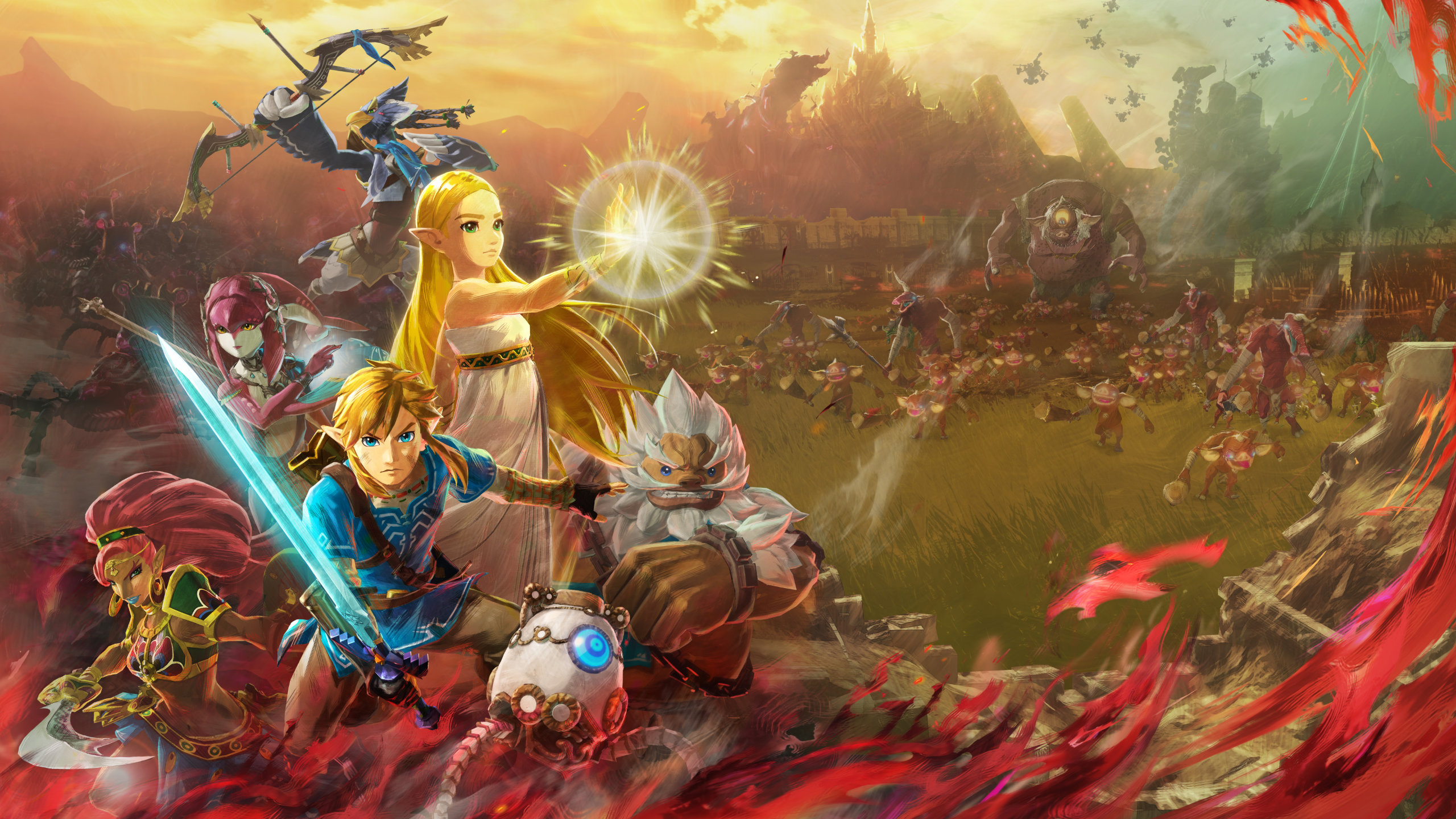Hyrule Warriors: Age of Calamity cast in front of a battlefield full of monsters