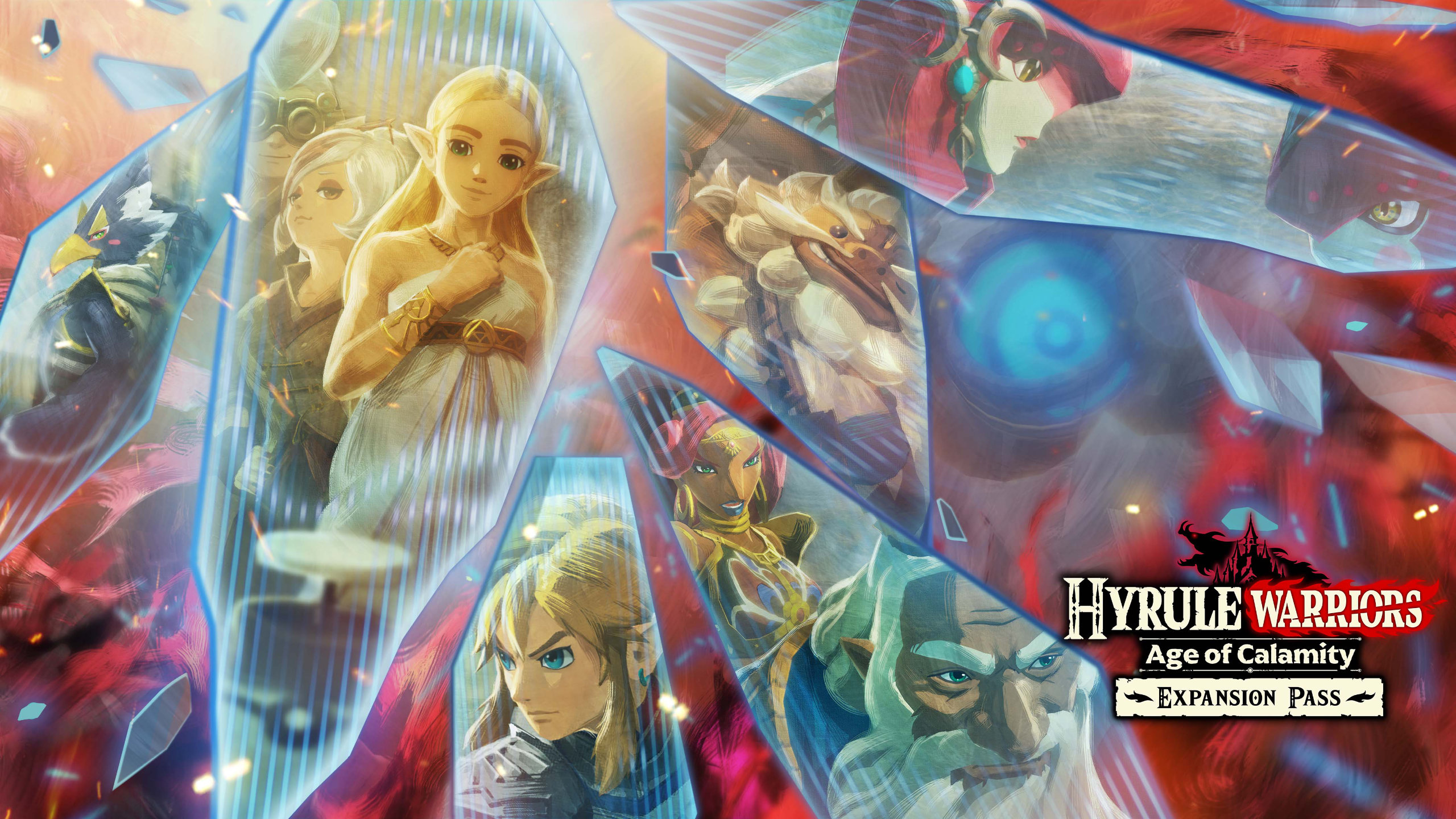 Hyrule Warriors: Age of Calamity artwork of Link, Zelda, and more heroes reflected in scattered shards of glass.