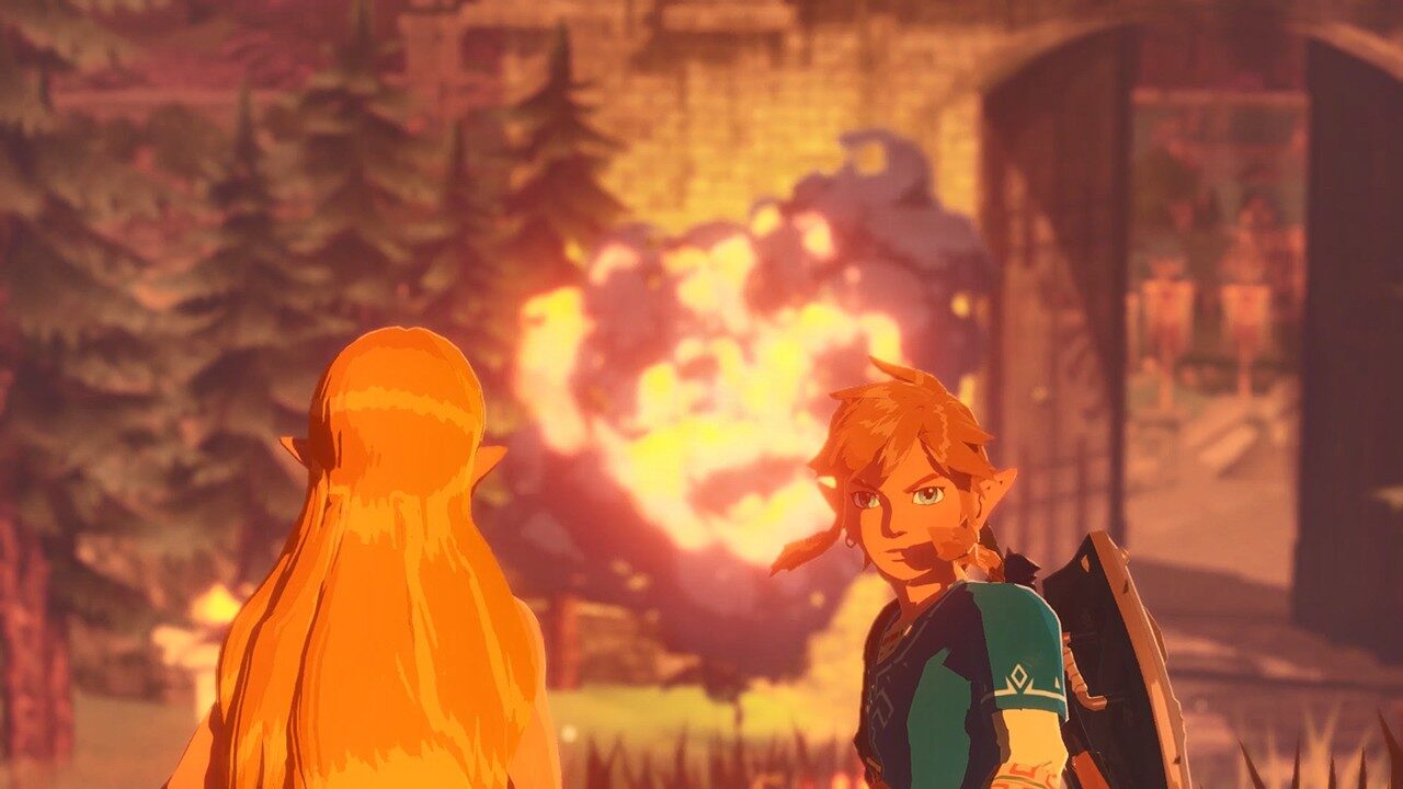 Hyrule Warriors: Age of Calamity screenshot: Link looks behind him as Zelda watches an explosion