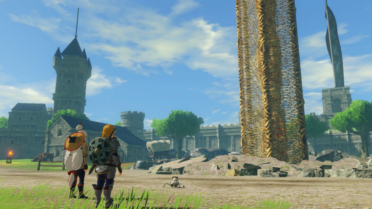 Hyrule Warriors: Age of Calamity screenshot with Link outside of town.