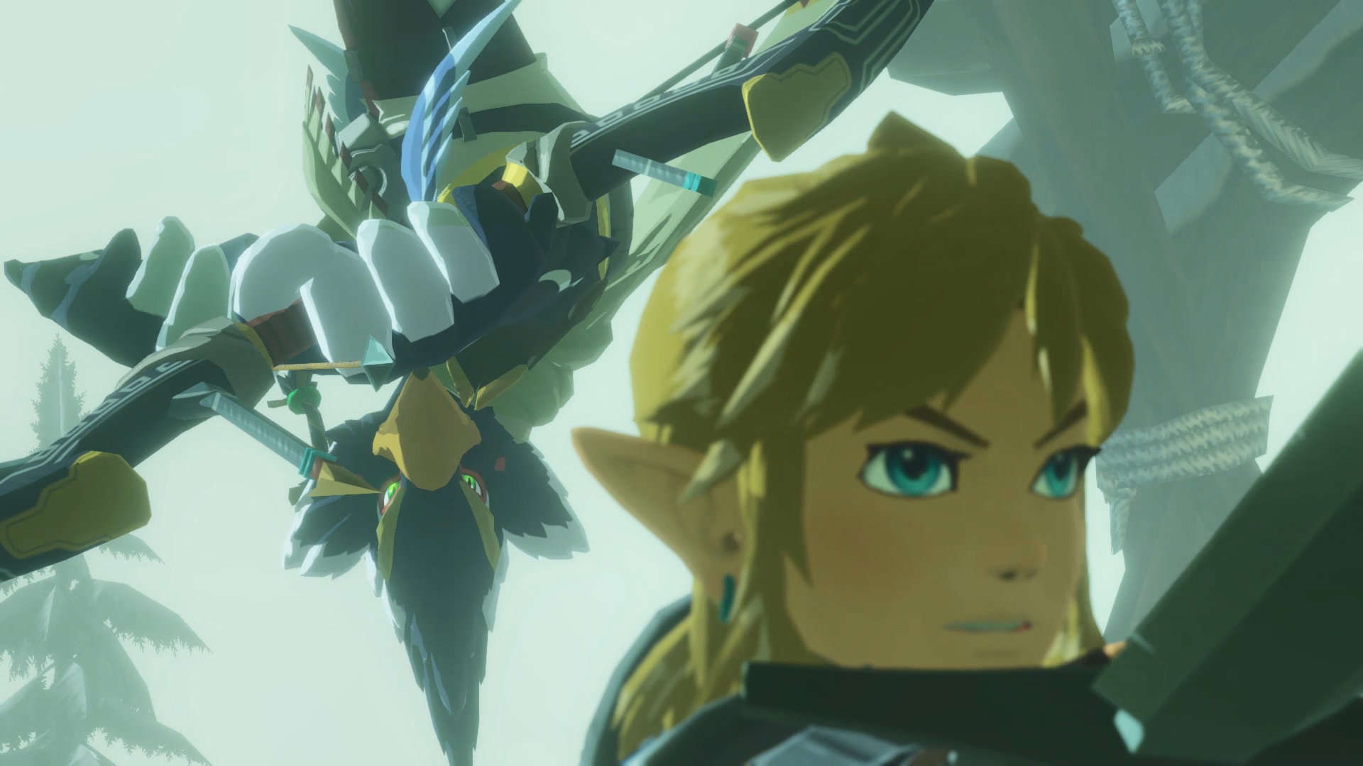 Screenshot From Hyrule Warriors Age Of Calamity Featuring Rito And Link