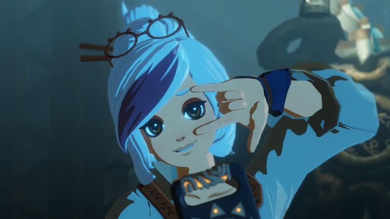 Hyrule Warriors Age of Calamity Screenshot of Purah making a cute hand gesture