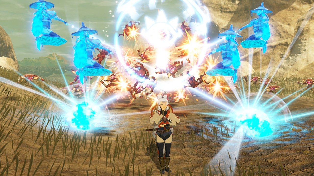 Hyrule Warriors: Age of Calamity screenshot: Impa is lost in thought while spectral copies attack her foes