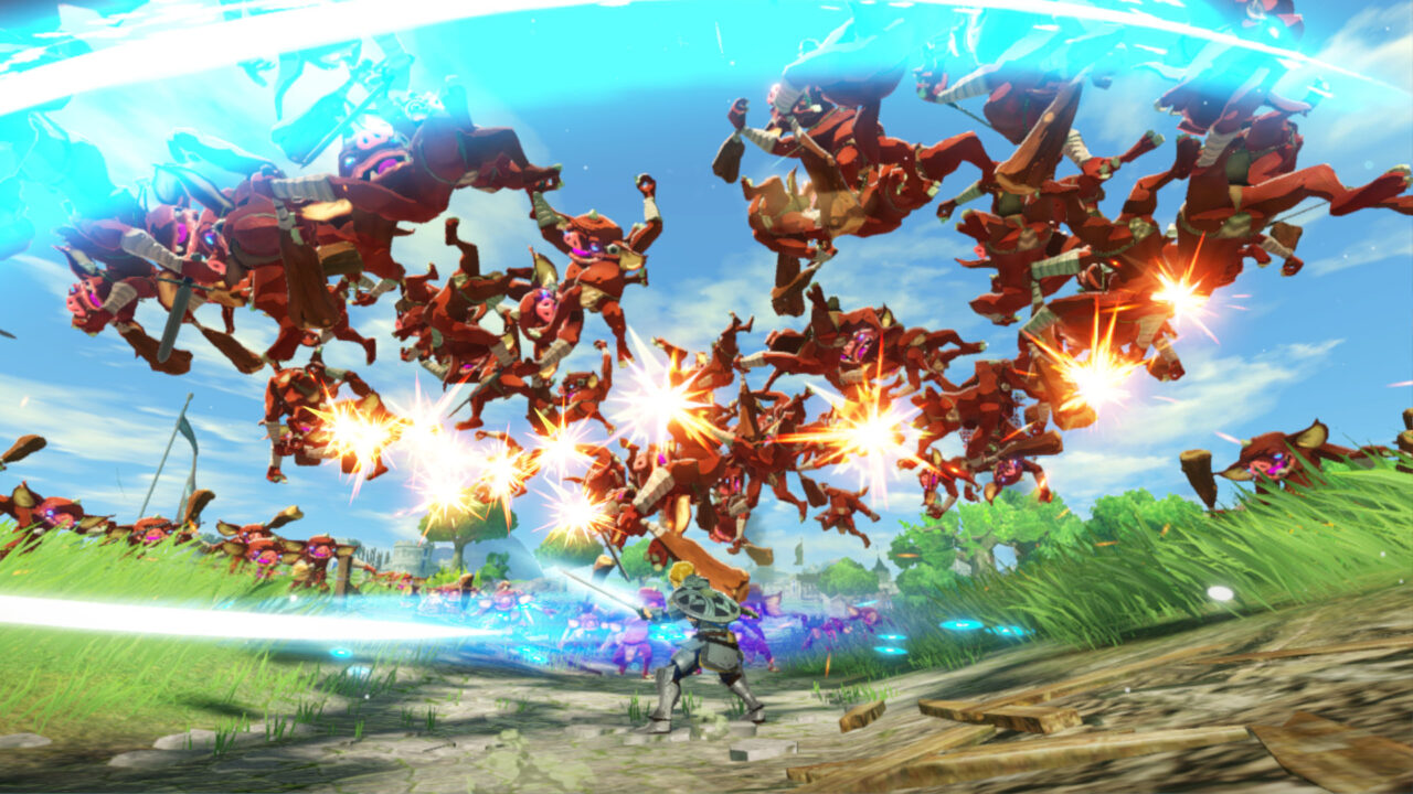 Hyrule Warriors: Age of Calamity screenshot: Link launches a bunch of enemies into the air with his attack