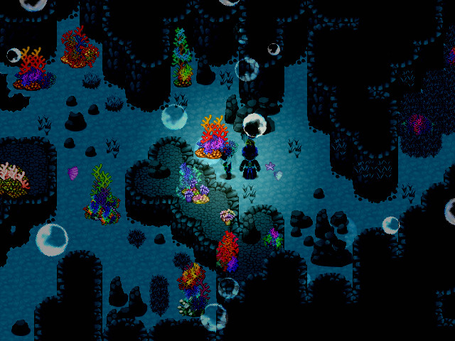 A character explores aquatic depths in a 2D environment in Inferno.