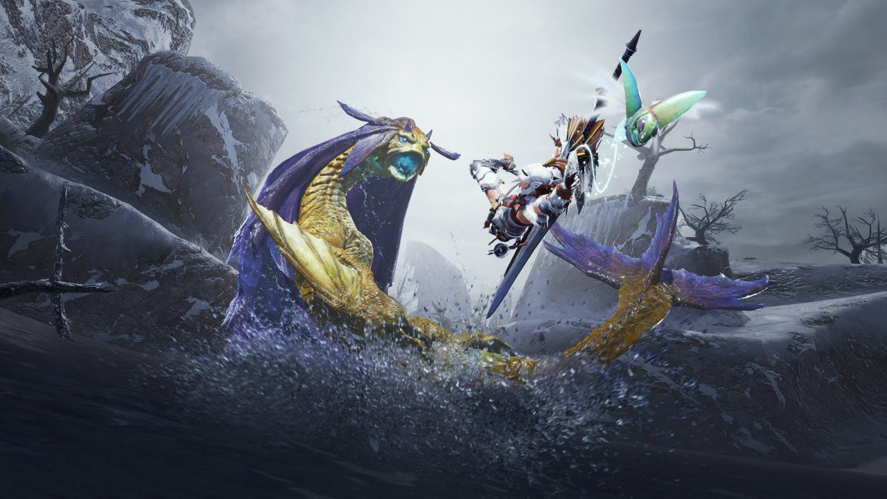 Monster Hunter Rise Artwork of a hunter leaping into the air to confront a large scaly aquatic dragon-like monster.