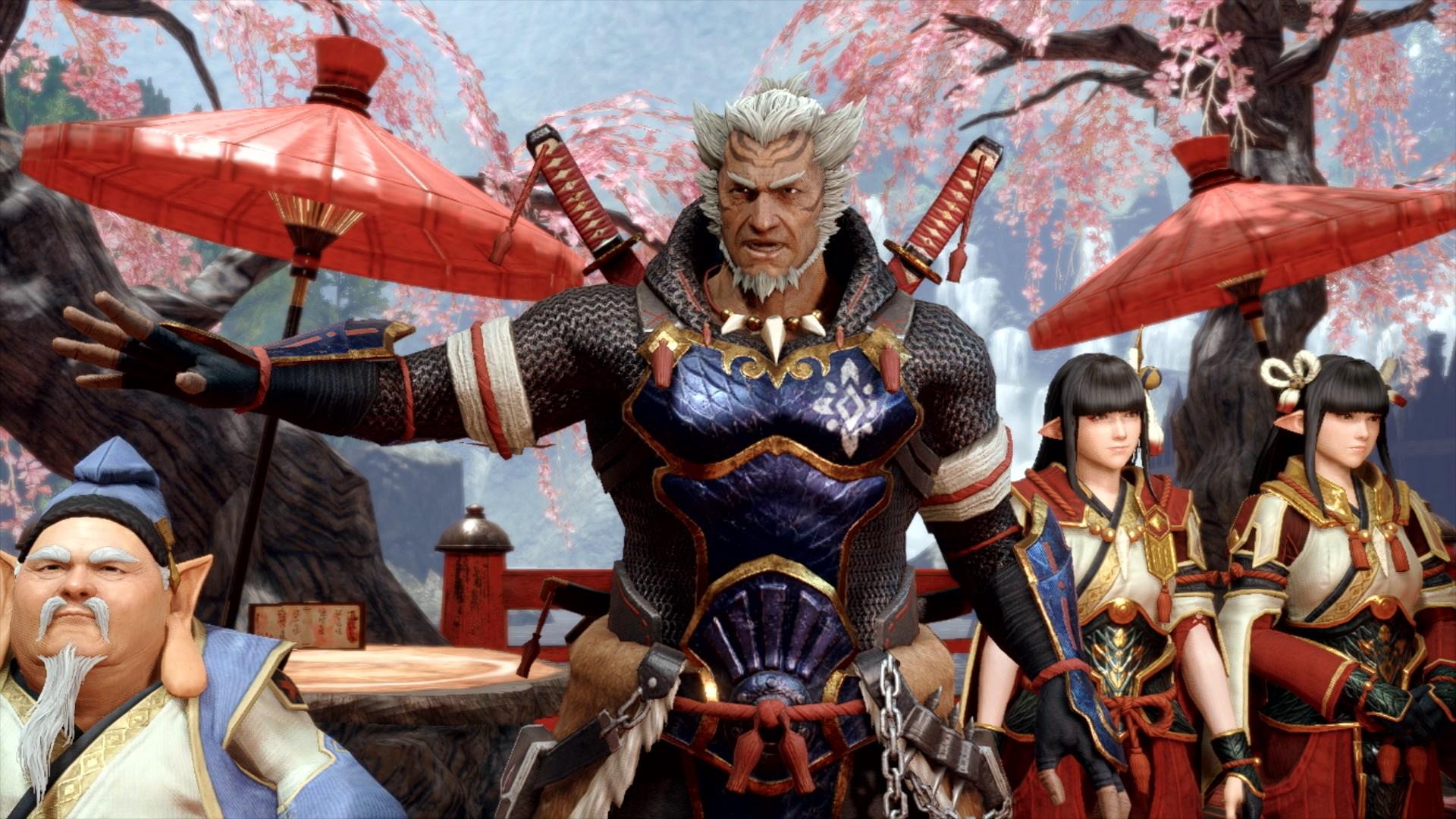 A dual-wielding swordsman in Monster Hunter Rise.