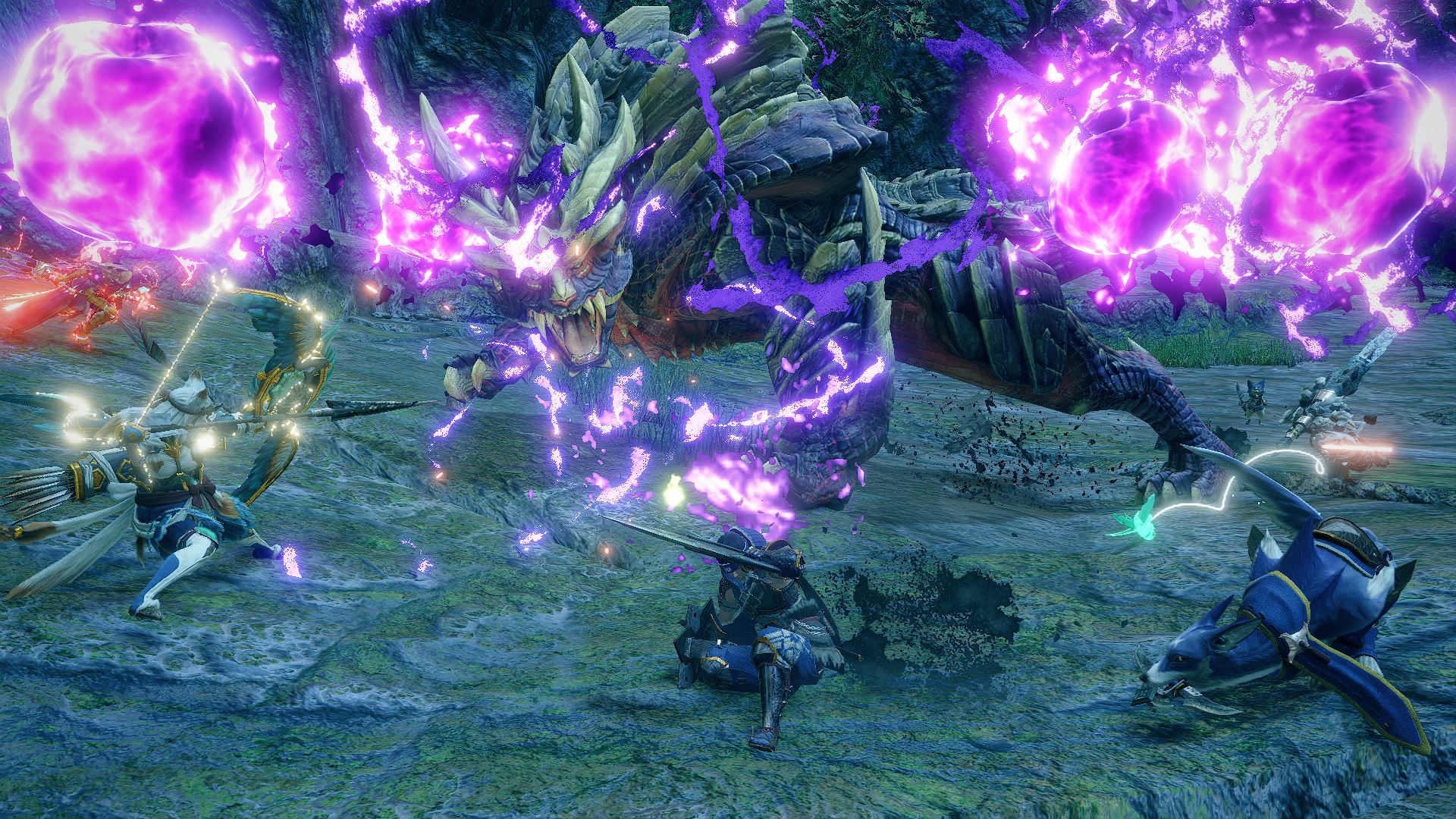 Monster Hunter Rise screenshot depicting several hunters and their canine companions battling a large dragon-like beast, as purple lighting orbs whirl in the air.