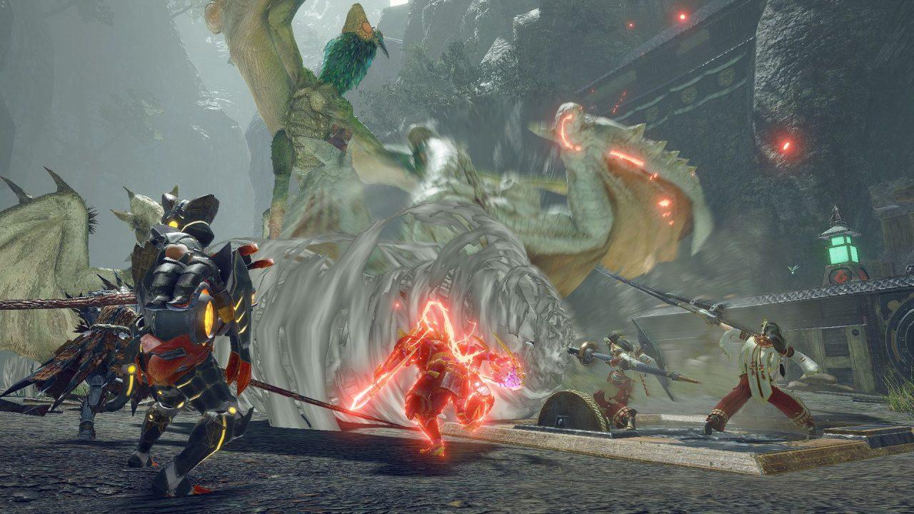 Hunting monsters in Monster Hunter Rise.