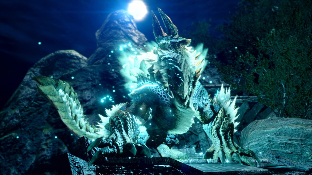 Zinogre howls at the moon in Monster Hunter Rise.