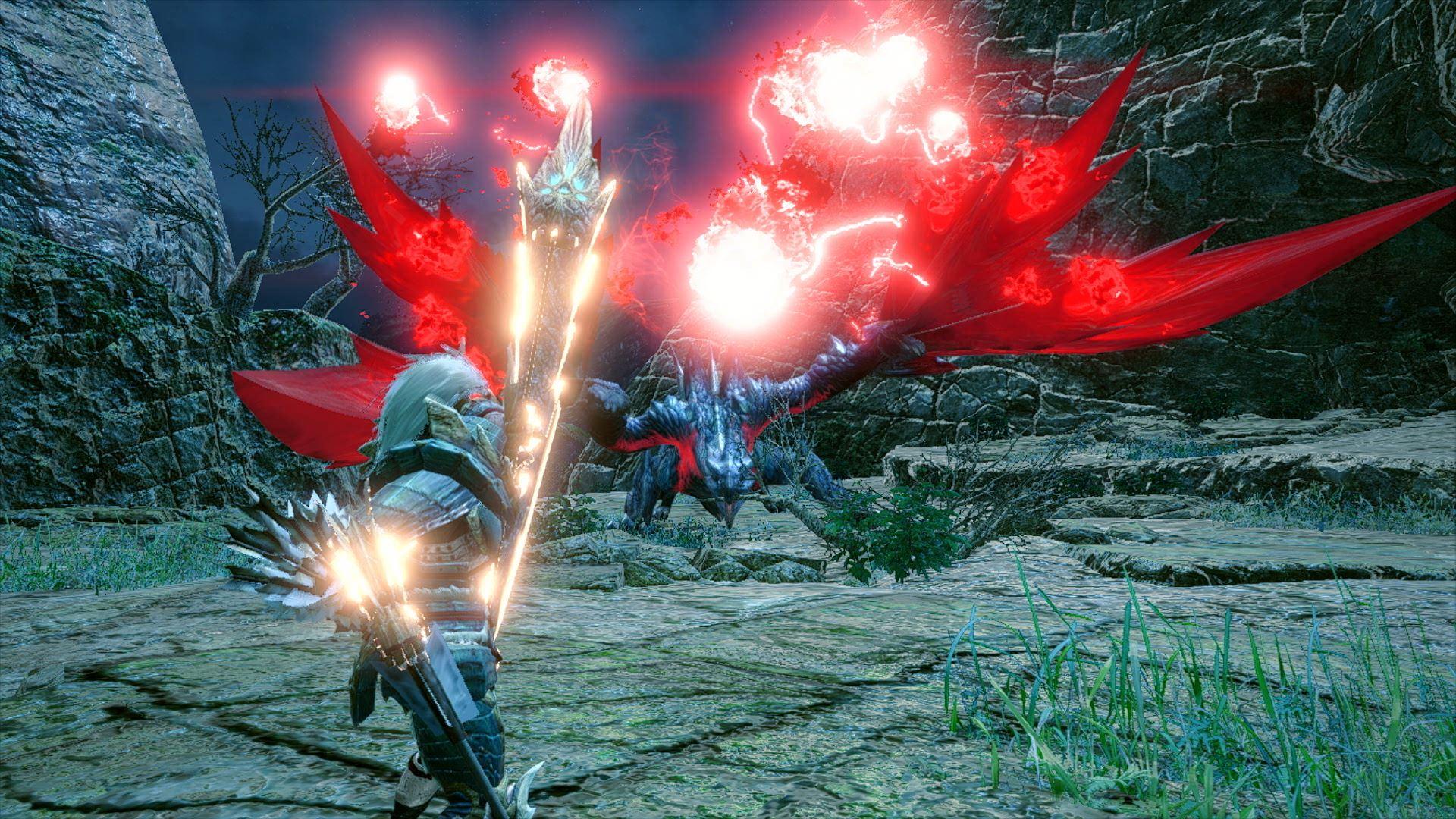 Screenshot From Monster Hunter Rise Featuring Crimson Glow Valstrax