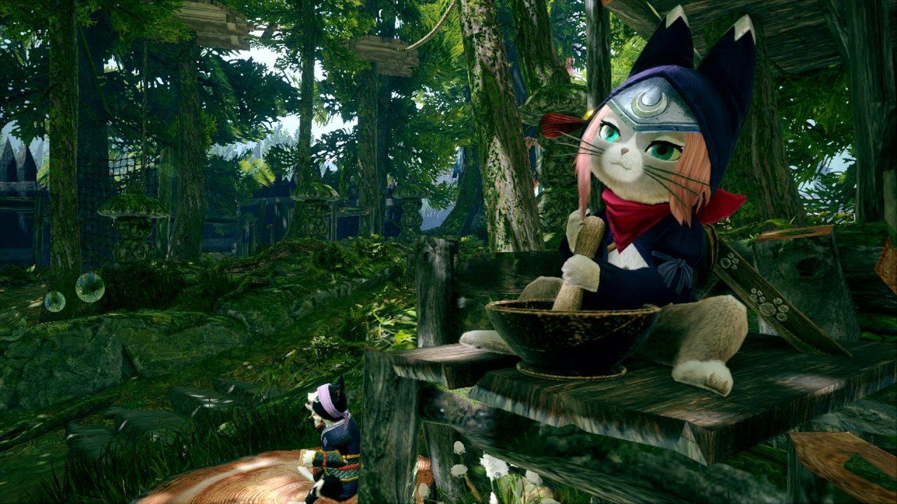 Monster Hunter Rise screenshot of a Palico dressed like Monster Hunter Stories 2's Tsukino.
