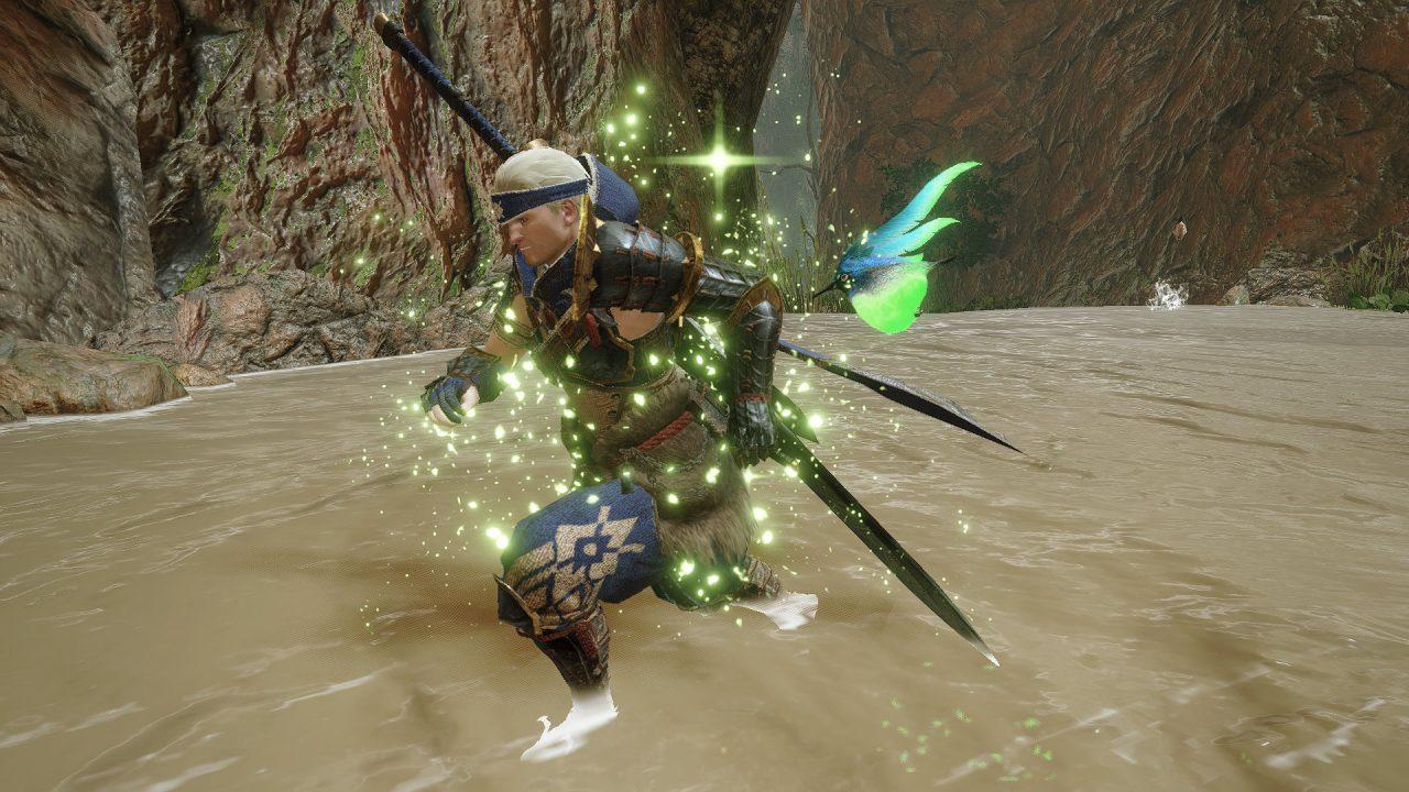 Monster Hunter Rise demo screenshot: a Spiribird grants a buff to a hunter.