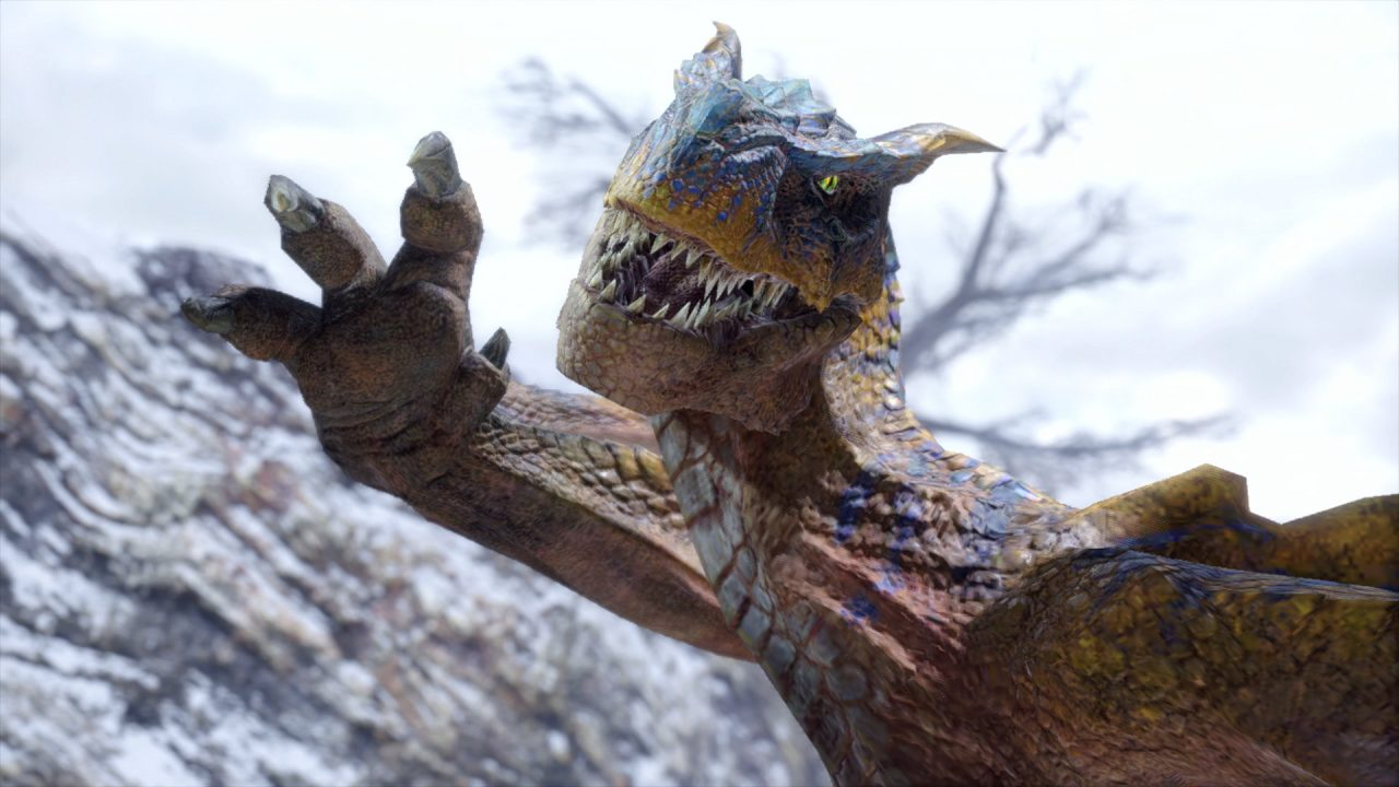 Monster Hunter Rise screenshot: a dragon raises its claws in a vicious attack