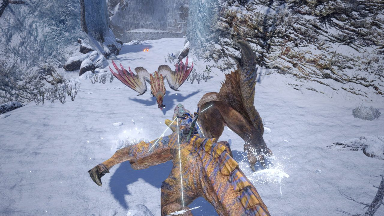 Monster Hunter Rise demo screenshot: a mounted and controlled Tigrex charges forth.