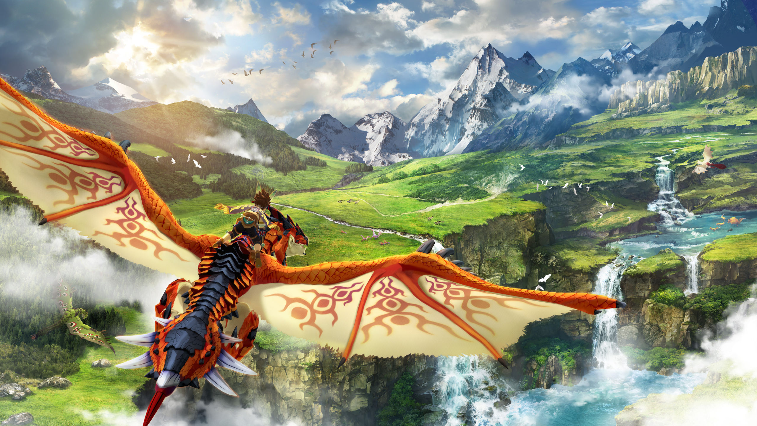 A Rider takes flight in the key art for Monster Hunter Stories 2: Wings of Ruin, coming to Nintendo Switch and Windows PC Via Steam this July.