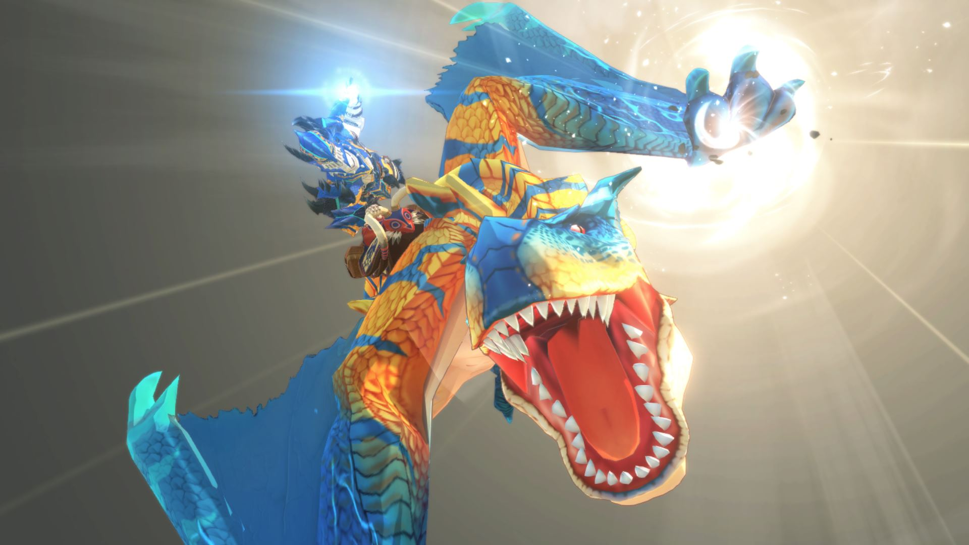Taking a dive on the back of a Grimclaw Tigrex in Monster Hunter Stories 2: Wings of Ruin.