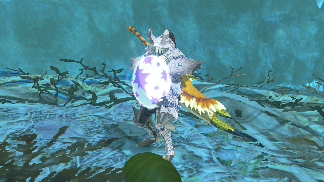 Your character holding a Monstie egg in Monster Hunter Stories 2: Wings of Ruin.