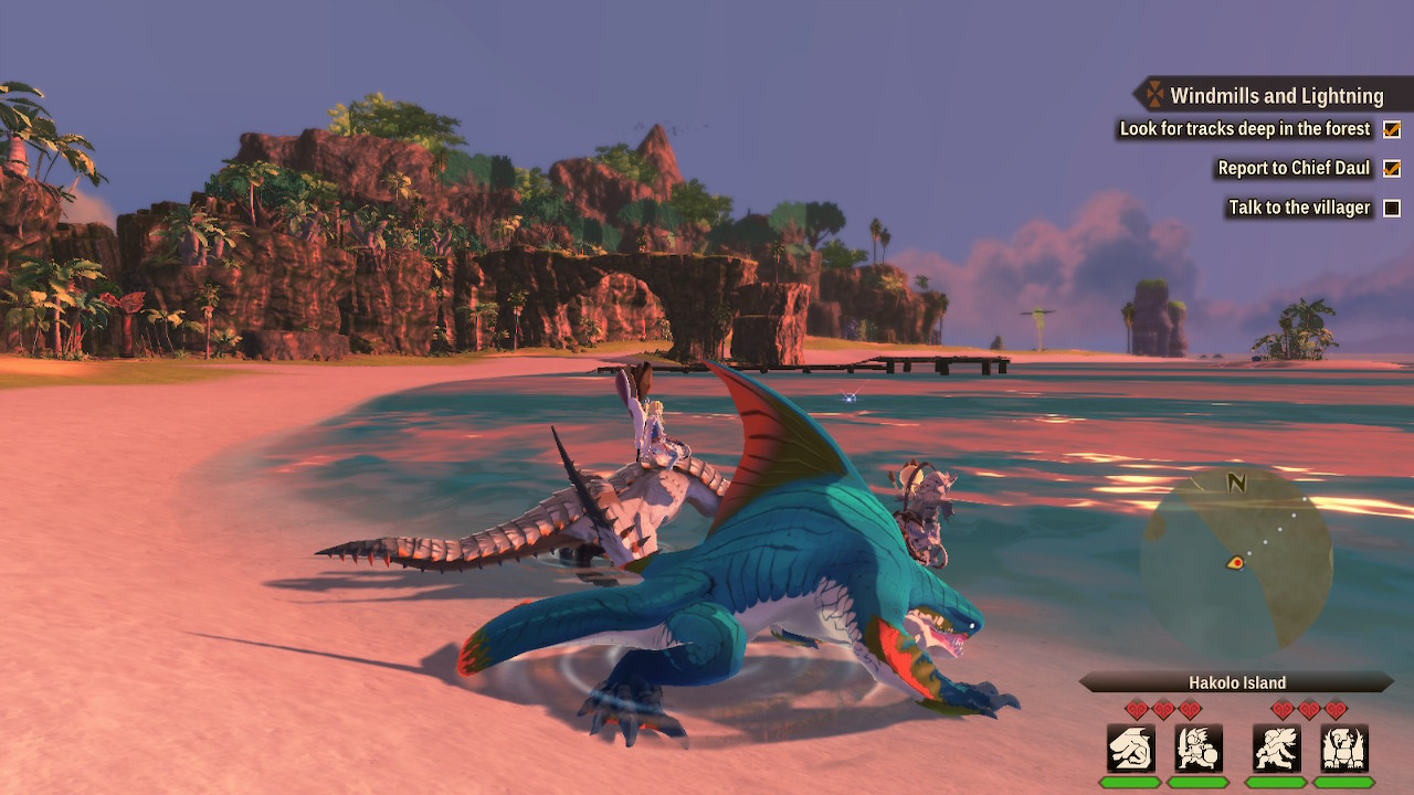The protagonist and Ena sitting on their monsties on a beach.