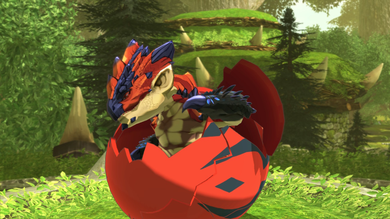 The legendary Rathalos hatching from its egg in Monster Hunter Stories 2: Wings of Ruin.