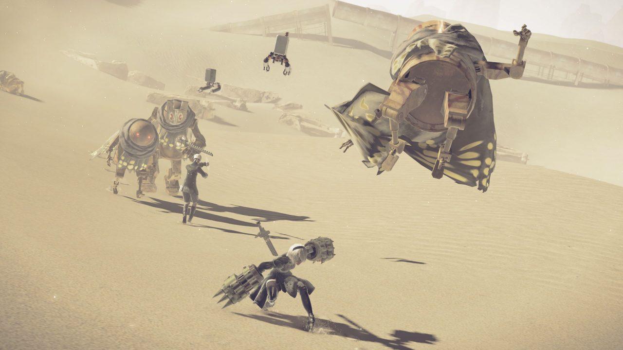 Desert combat in NieR: Automata.