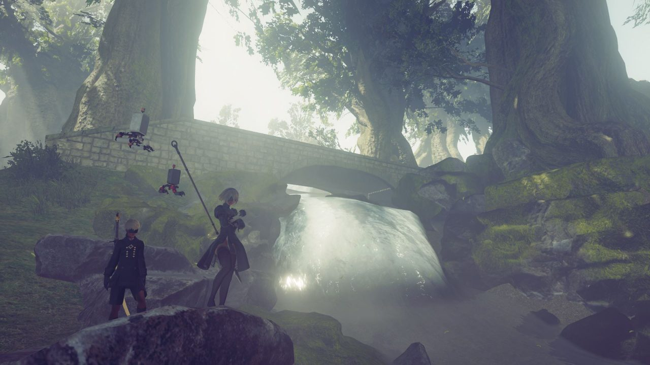 2B and 9S navigating the Forest Zone.