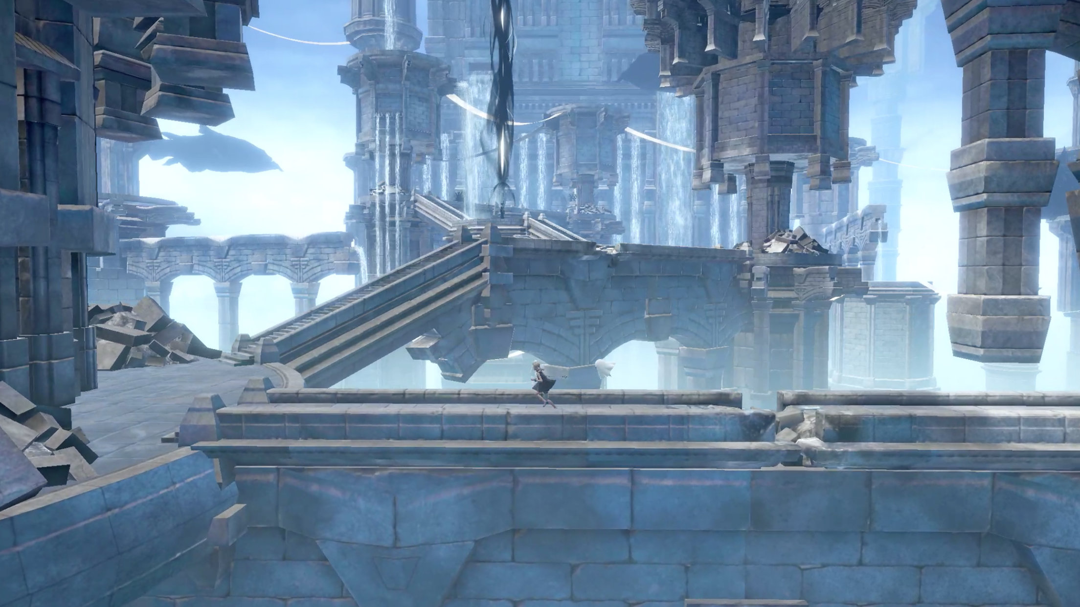 NieR: Re[in]carnation Screenshot of a girl running through a ruined floating castle in the sky with some floating towers featuring built-in waterfalls.