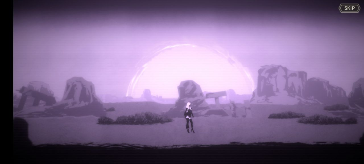A screen from NieR Re[in]carnation where half android woman stands in the middle of a desert under an oppresive purple light.