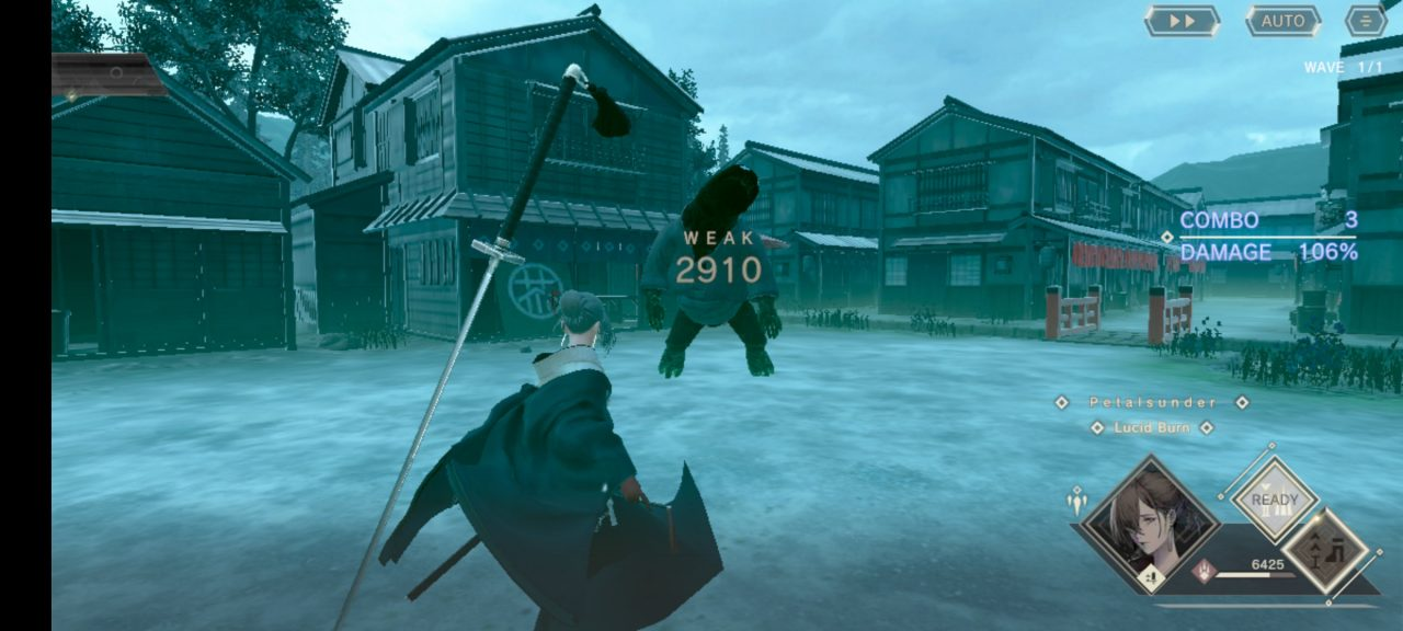 A combat scene in NieR Re[in]carnation where an assassin pulls away from a great, dark beast after dealing damage.