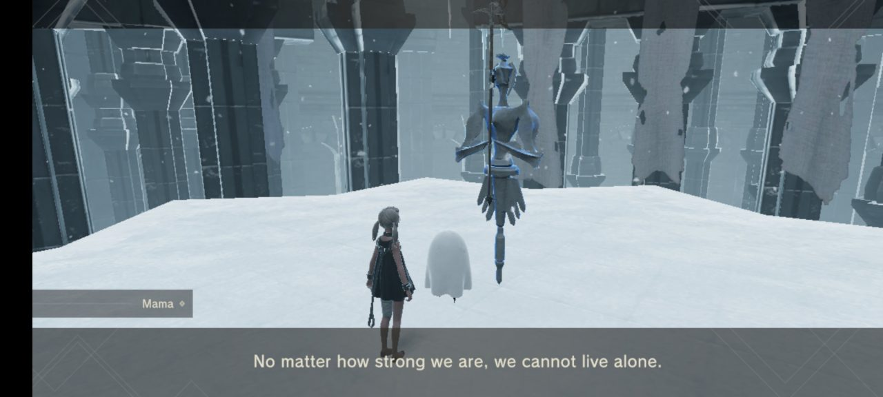 A screen in NieR Re[in]carnation in a snowy area of The Cage, where a ghost called Mama is telling a little girl that people cannot live alone.
