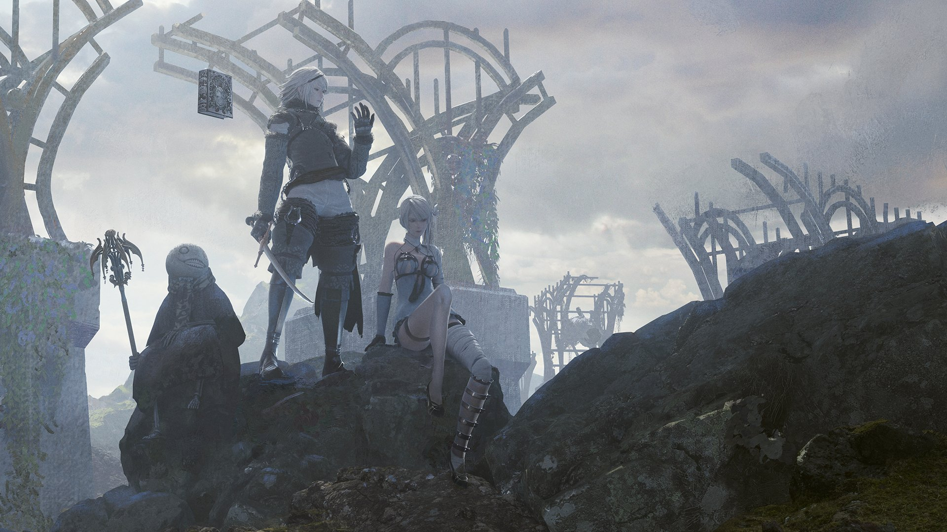 Characters stand in the foreground against a dark and gloomy backdrop in NieR Replicant ver. 1.22474487139.