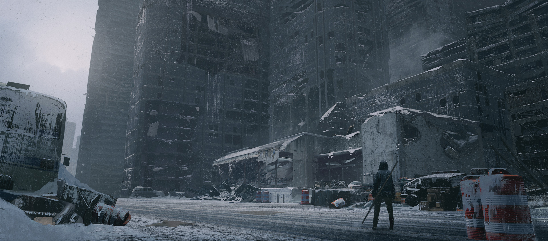 The ruined buildings of a broken city stand above a cloaked character within NieR Replicant ver.1.22474487139
