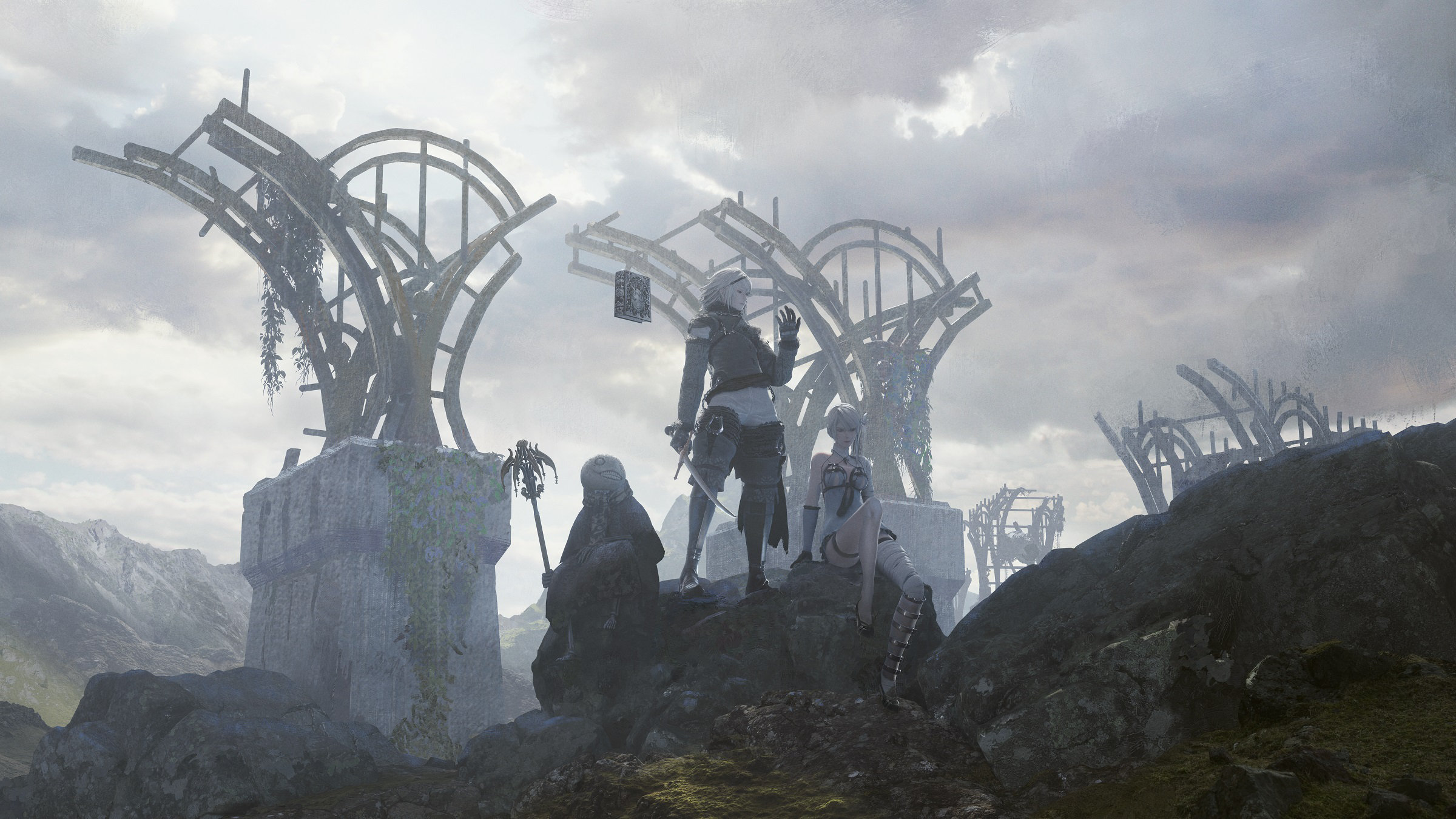 NieR Replicant ver122474487139 Key Artwork depicting the protagonist, Grimoire Weiss, Kaine, and Emil