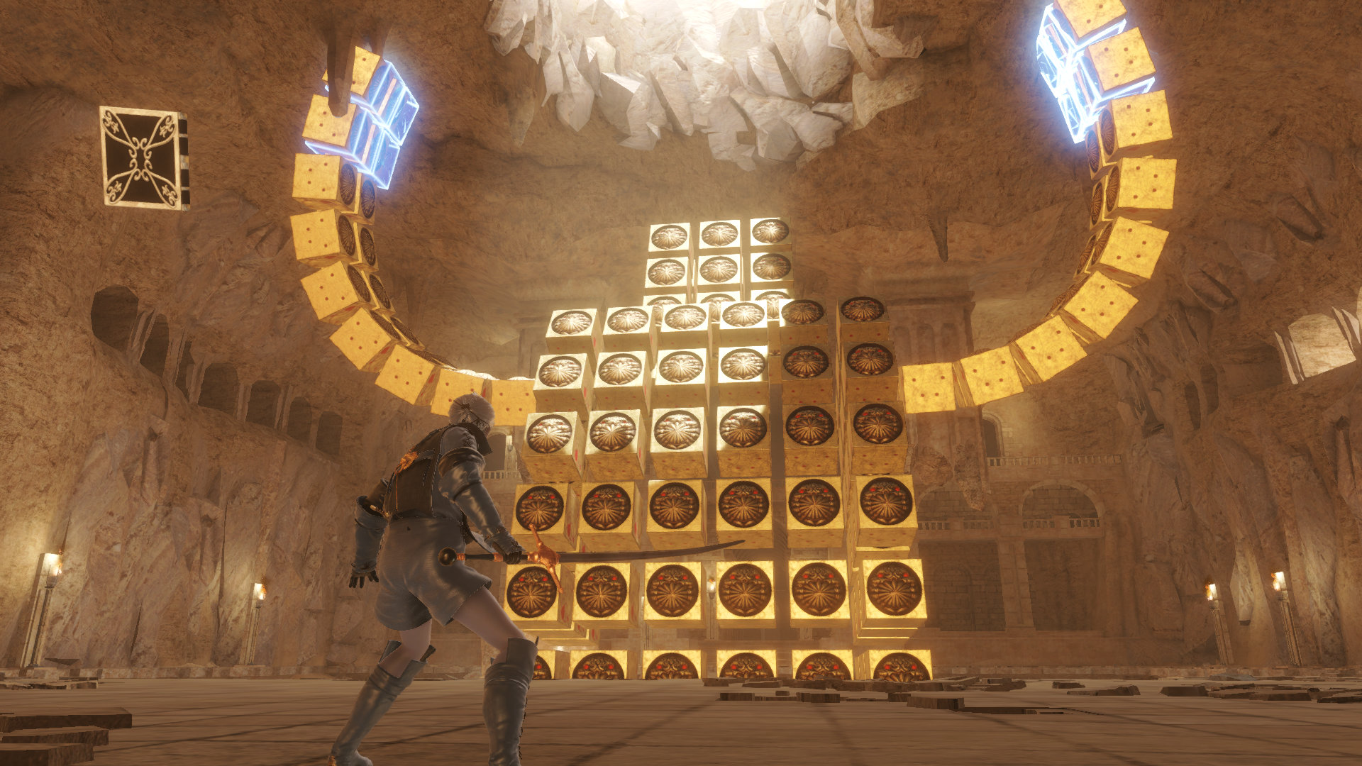 Nier fighting a boss made up of cubes in the Barren Temple in NieR Replicant ver.1.22474487139…