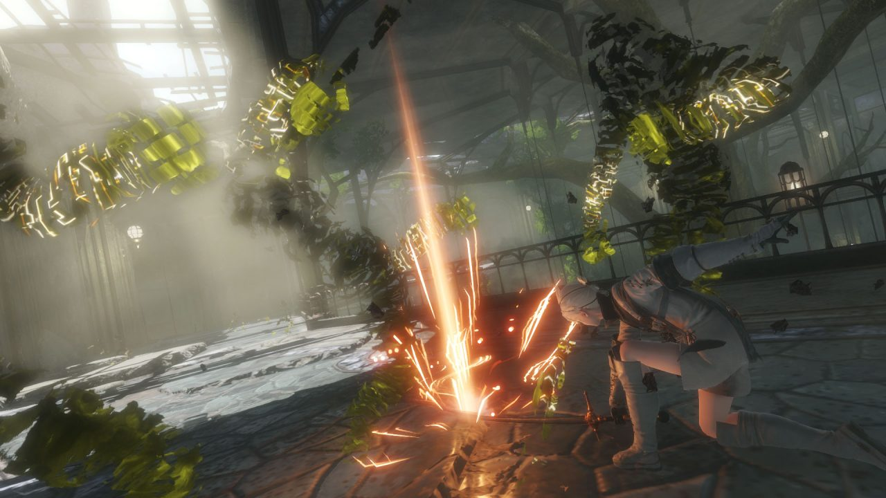 The young protagonist of NieR Replicant ver122474487139 fighting Shades in the Lost Shrine.